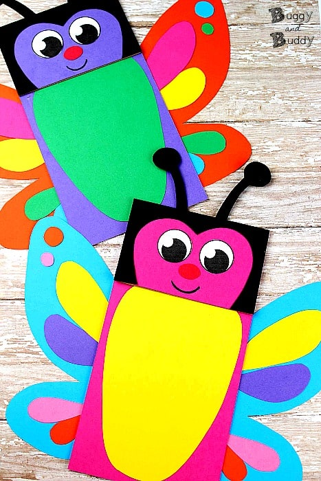 Butterfly Paper Bag Puppet Craft for Kids with Free Printable PDF Butterfly Template