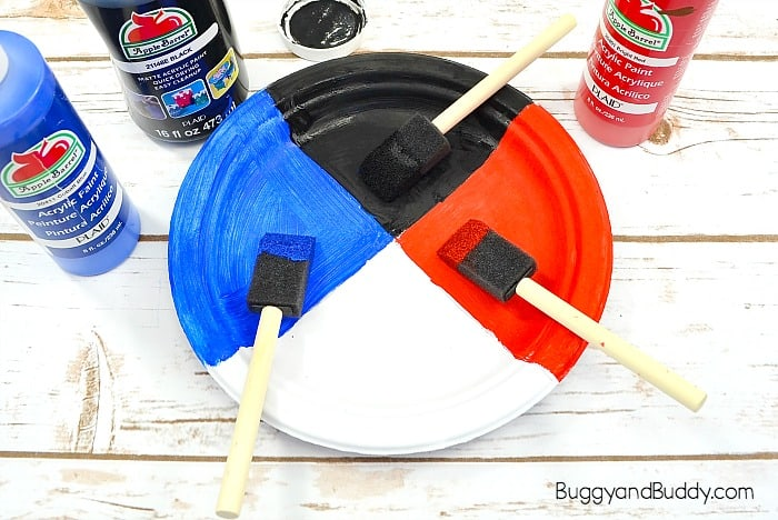 paint your segmented plate blue, red, and black
