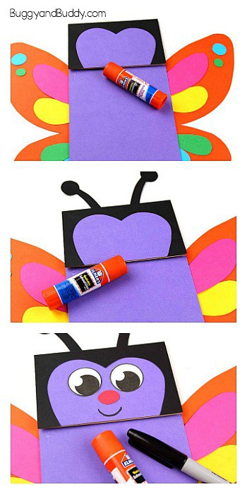 glue your wings, antennae and face onto your paper bag butterfly puppet