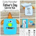 Monster Father's Day Card Craft for Kids with Free Templates