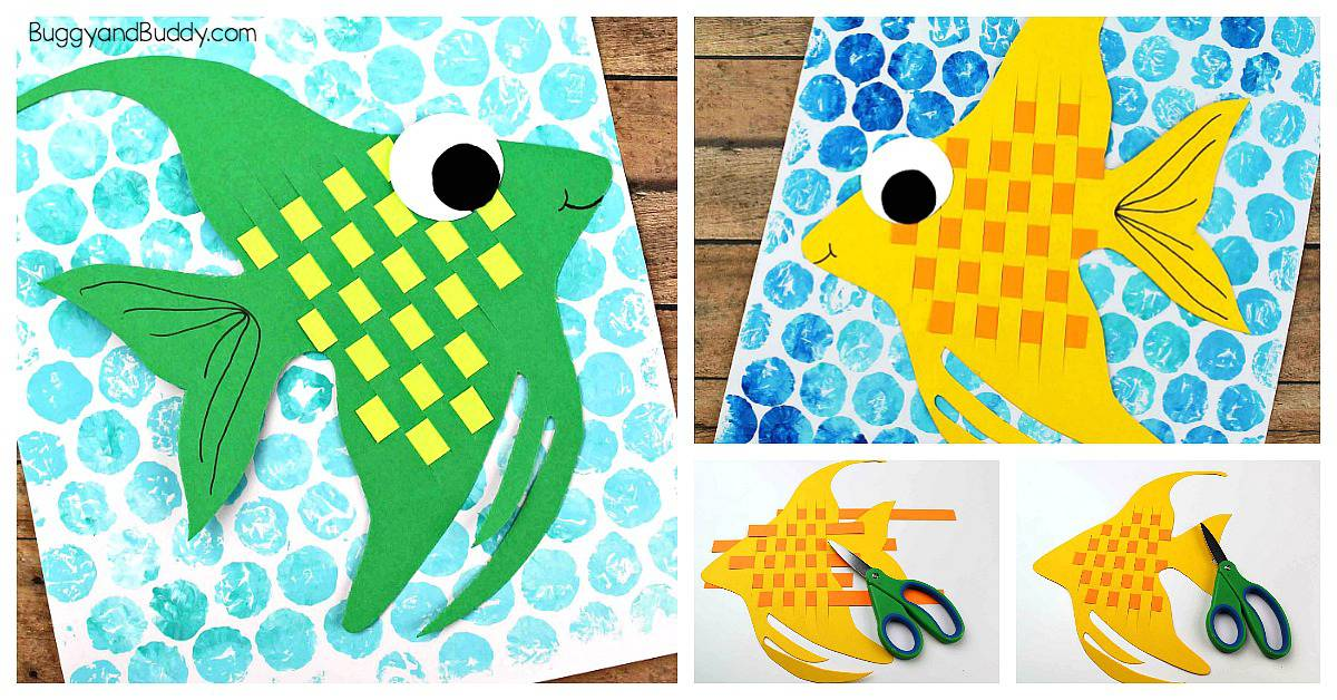 Woven Strip Paper Angelfish Craft for Kids with bubblewrap printed background and free fish template