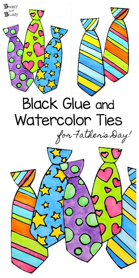 Father S Day Craft For Kids Black Glue And Watercolor Tie Buggy