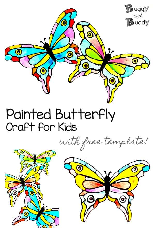 Colorful Painted Paper Butterfly Craft with free template using black glue and watercolors- looks like faux stained glass!