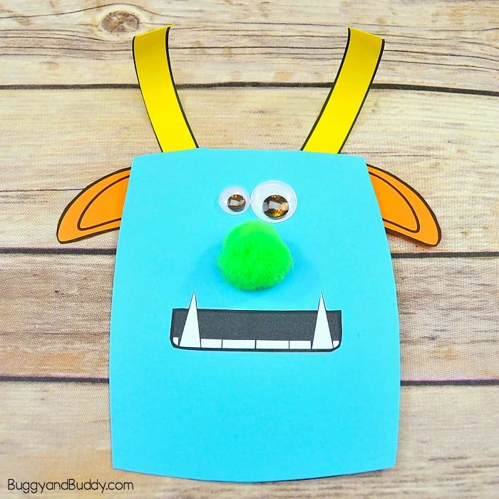 Cute Monster Father's Day Card Craft for Kids to make with free monster templates