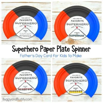 Superhero Father's Day Card: Paper Plate Spinner Craft for Kids with Printable Templates