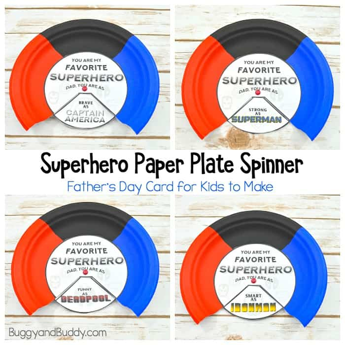 Homemade Superhero Father's Day Card: Paper Plate Spinner Craft for Kids with Free Printable Template