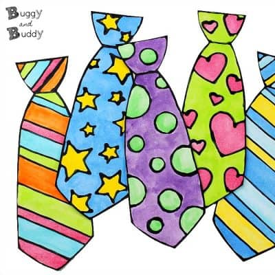 fathers day tie craft for kids using black glue and watercolor and free template