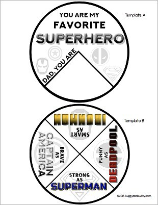 free printable PDF superhero father's day template