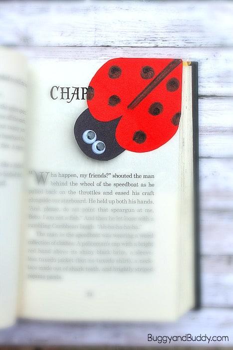 diy ladybug corner bookmark craft for kids