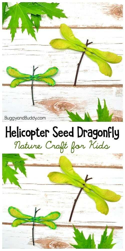Helicopter Seed (Maple Tree Seed) Dragonfly Craft for Kids using a twig
