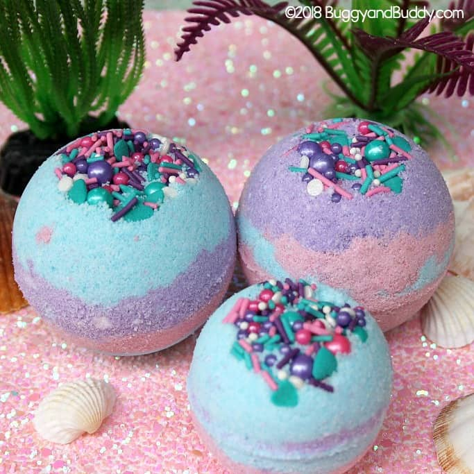 DIY Mermaid Bath Bomb Recipe- Fun homemade project for teens and tweens