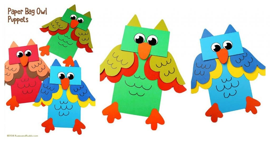 Owl Paper Bag Puppet Craft for Kids with free owl template