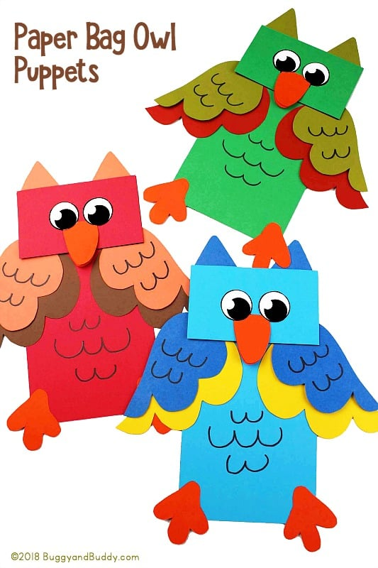 owl puppet craft for kids using paper bags