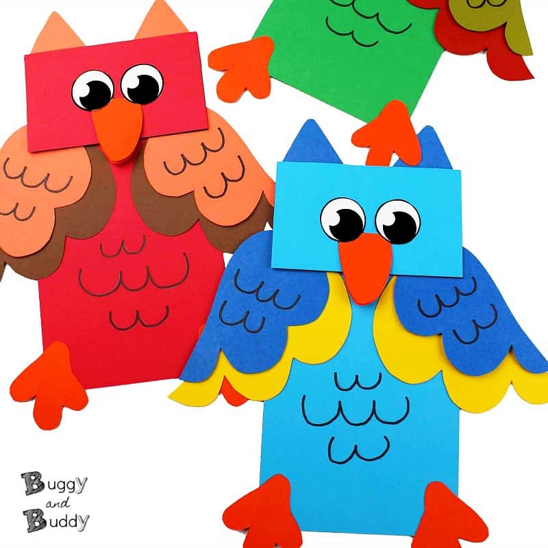 Owl paper bag puppet with free template craft for kids