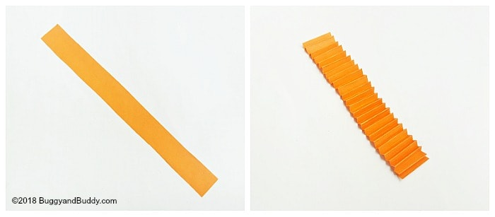accordion fold your orange strip of paper to make your pumpkin shape
