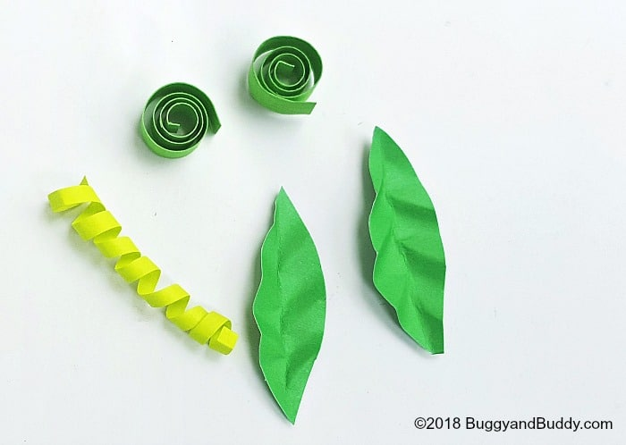 make your leaves pumpkin vines with green paper