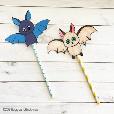 Flying Bat Straw Rockets with Free Printable Bat Template
