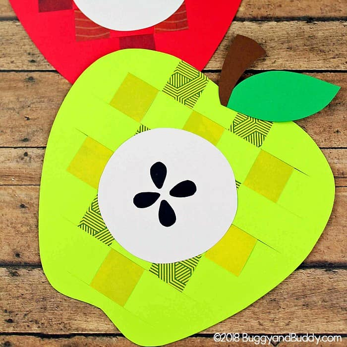 woven paper apple craft for kids