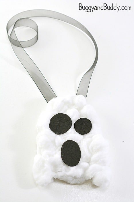cotton ball ghost craft- halloween necklace craft for kids