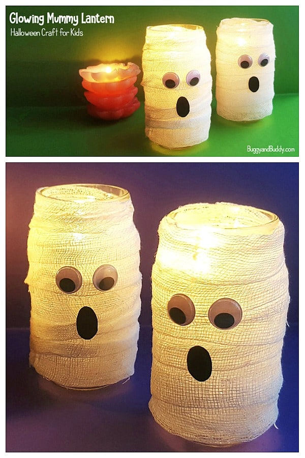 DIY Glowing Mummy Lantern  Craft for Kids for Halloween