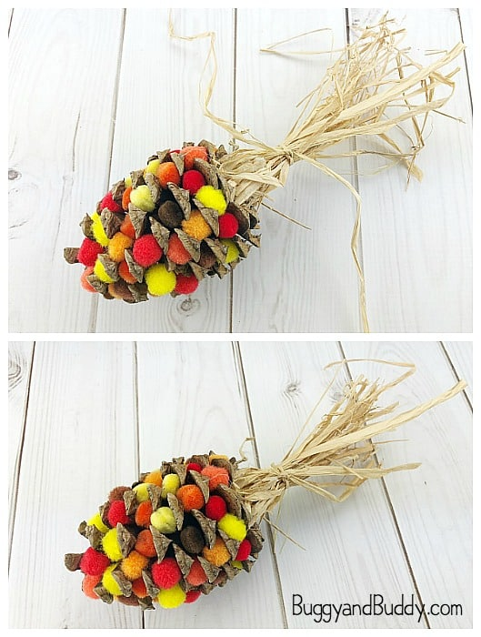 raffia topped pinecone indian corn craft for thanksgiving