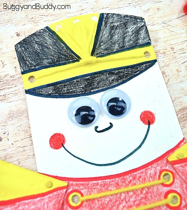 add a face to your paper plate nutcracker craft