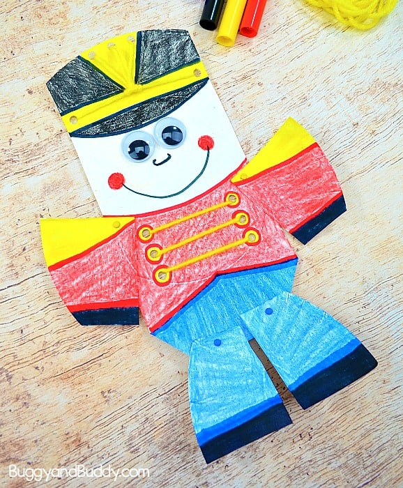 Moveable Paper Plate Nutcracker Craft for Kids for Christmas with Yarn Lacing