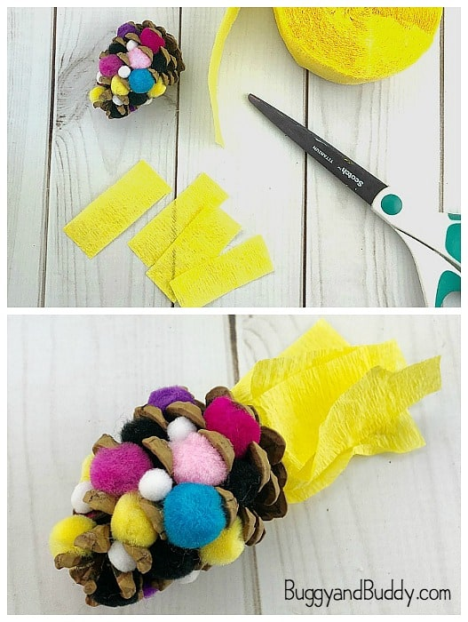 use crepe paper for your pinecone indian corn craft