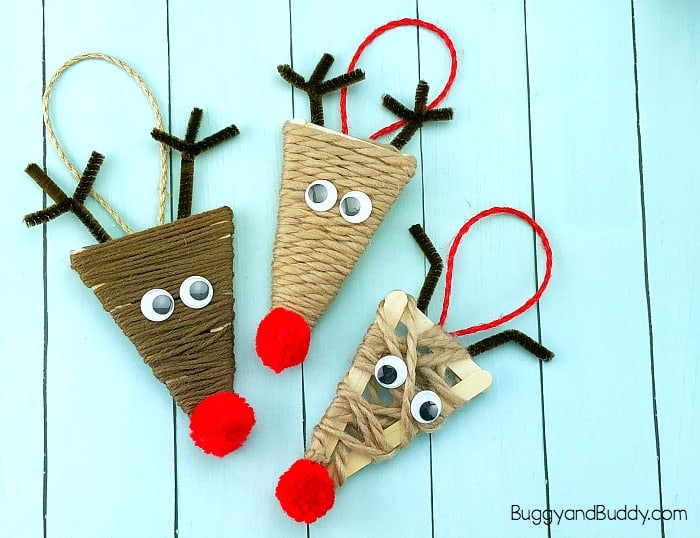 yarn wrapped craft stick reindeer ornament craft for kids