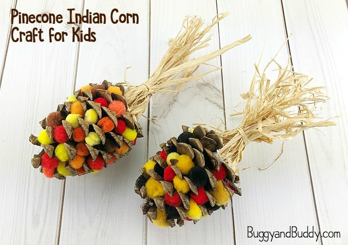 pinecone indian corn craft for kids for thanksgiving