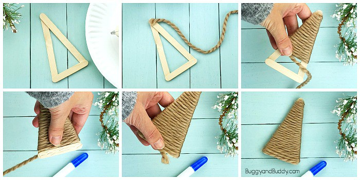 wrap yarn around your popsicle stick reindeer