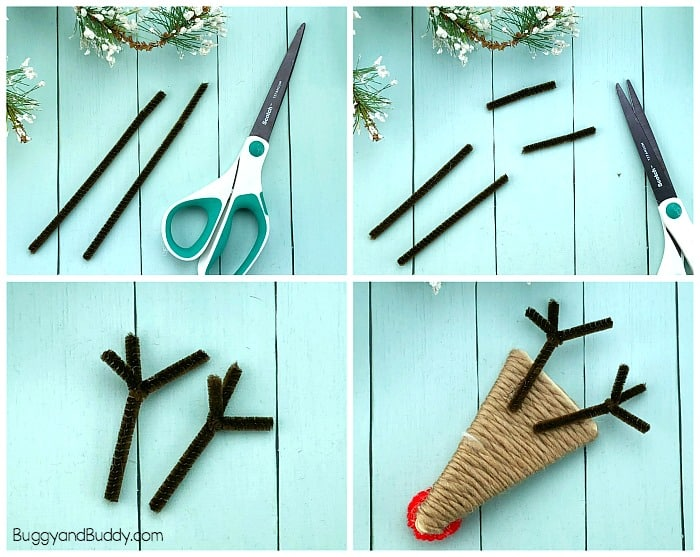 add your pipe cleaner antlers
