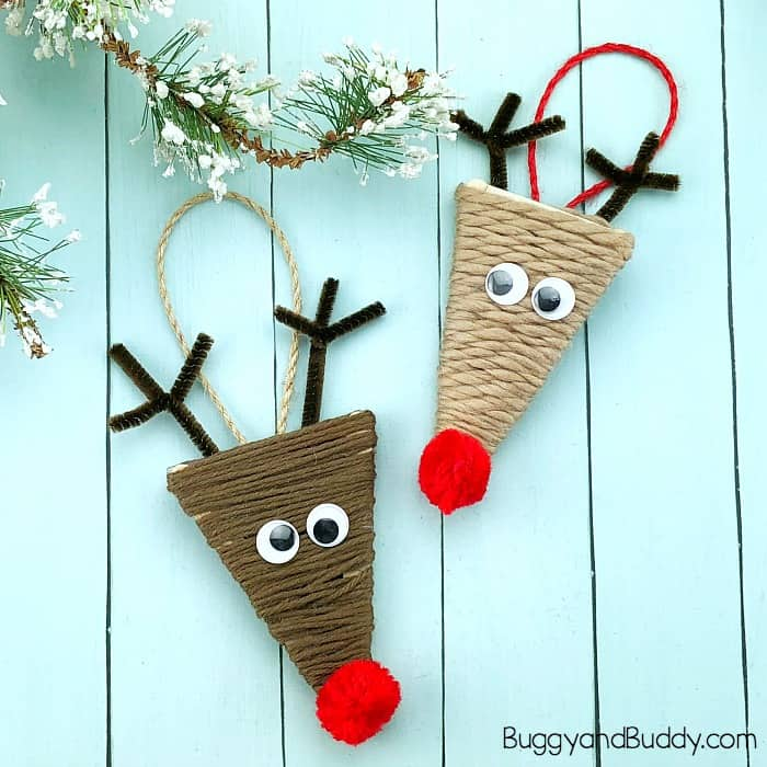 yarn wrapped craft stick reindeer ornament