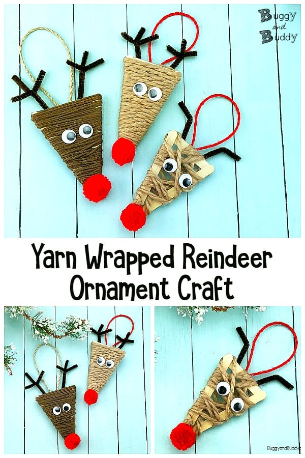 yarn wrapped craft stick reindeer ornament Christmas craft for kids