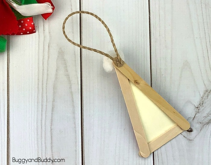 glue string to the back of your ornament
