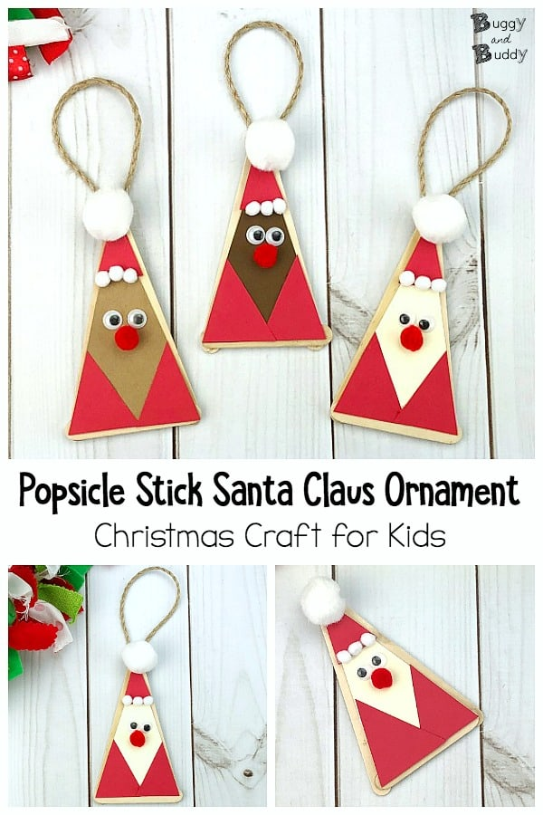 Popsicle stick Santa Claus Homemade Christmas Ornament Craft for Kids