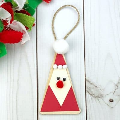 DIY Craft Stick Santa Claus Ornament for Kids