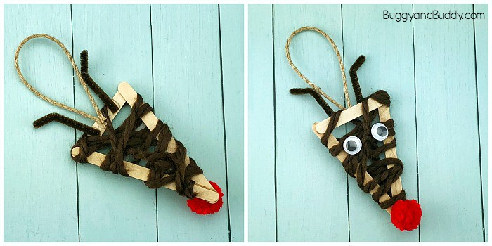 yarn wrapped craft stick reindeer christmas ornament