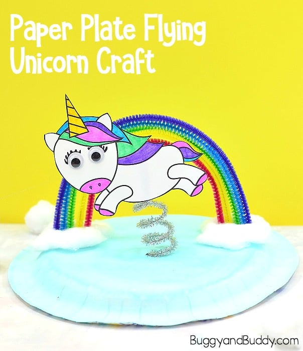 Paper Plate Flying Unicorn and Rainbow Craft with free printable unicorn template