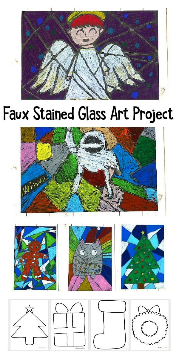 Christmas Faux Stained Glass Art Project for Kids with free printable templates or coloring sheets