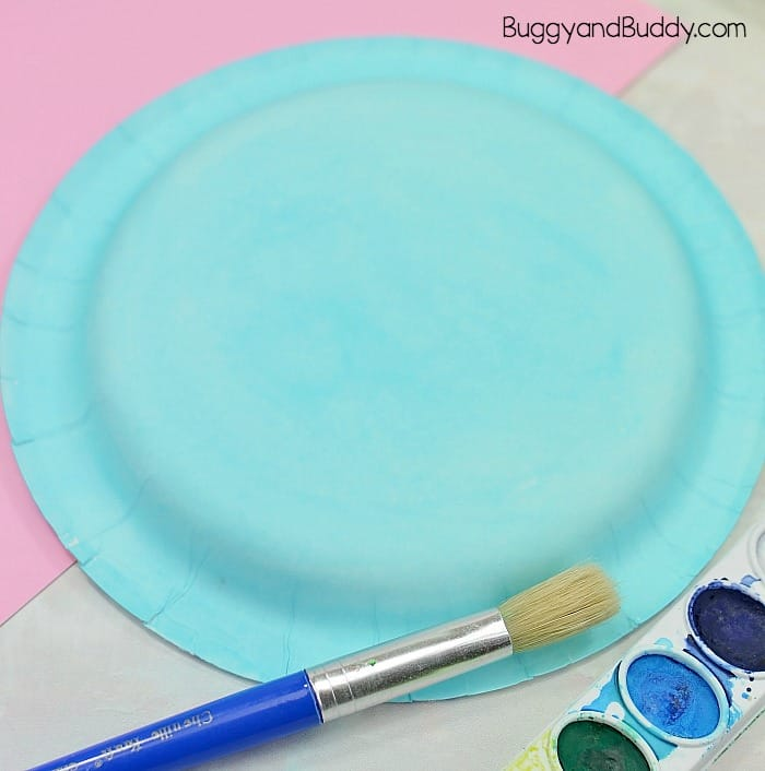 paint your paper plate blue