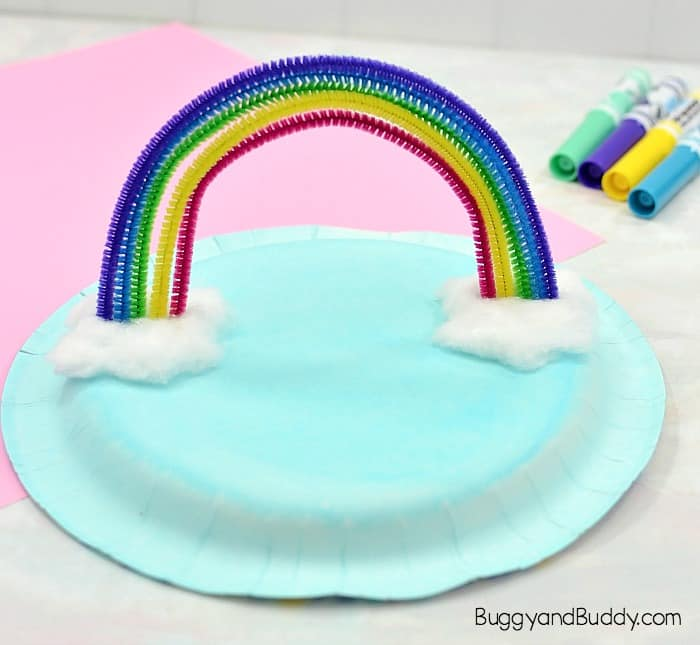 add cotton ball clouds to your rainbow