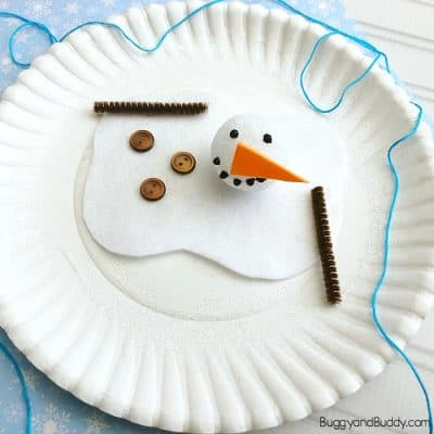Paper Plate Melting Snowman Winter Craft for Kids