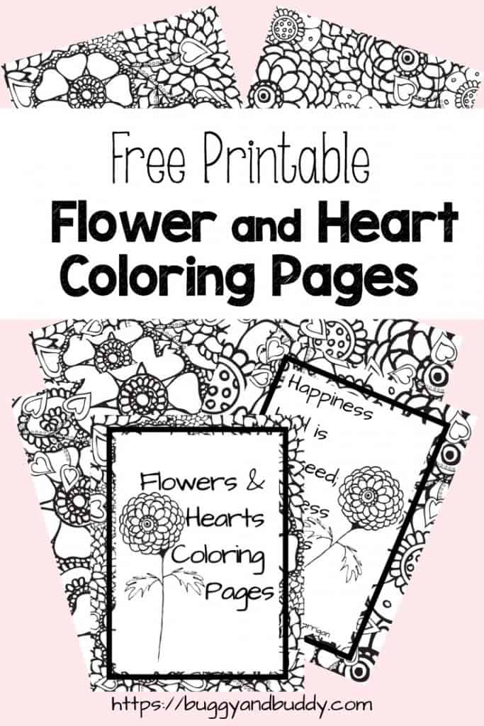 Free Printable Flower and Heart Coloring Pages - Buggy and Buddy