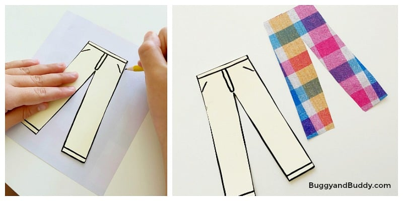 trace and cut out clothing for your self portrait paper doll craft