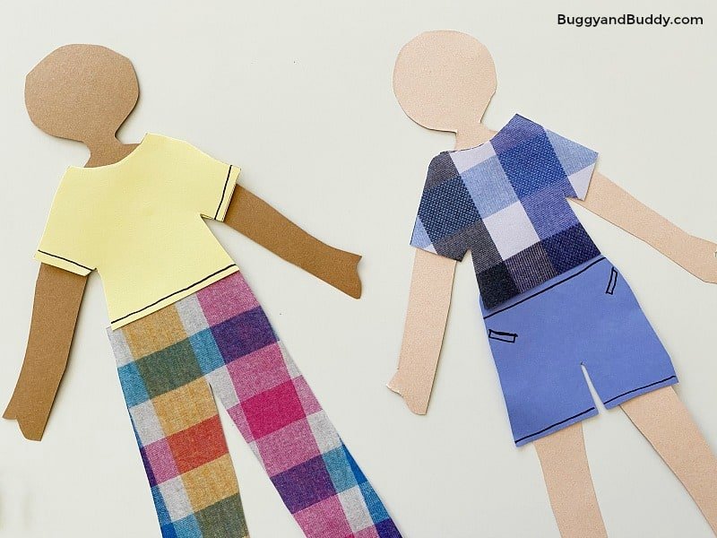 glue clothing to your paper dolls