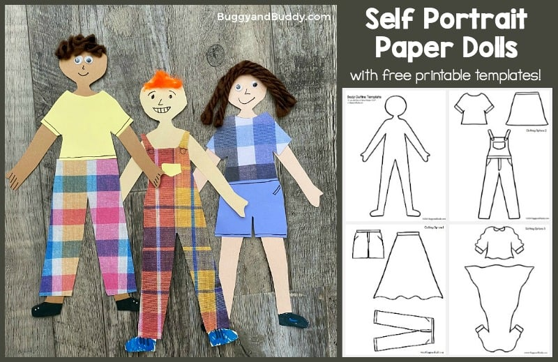 self portrait paper dolls with free printable boy and girl and clothing templates